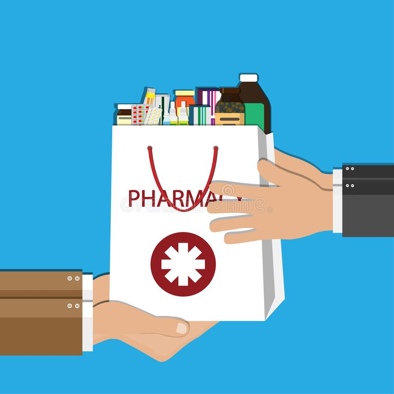 Белая хозяйственная сумка с различными медицинскими пилюльками и бутылками в руке Здравоохранение и покупки, фармация, аптека Ill иллюстрация штока