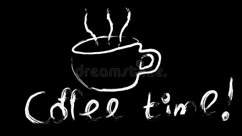 Белая чашка поддерживать вкусную горячую коричневую руку кофе покрашенную с красивым паром и кофе приурочивают надпись изолирован иллюстрация вектора