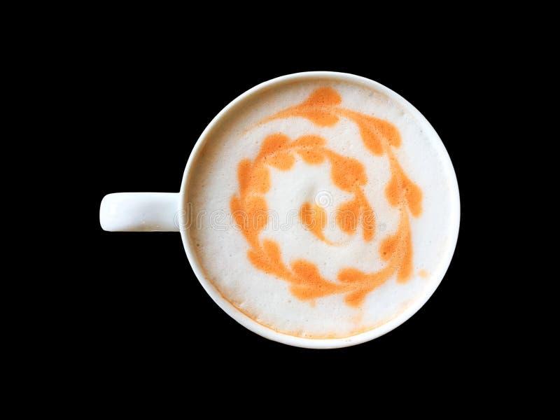 Белая чашка тайского оранжевого чая с поверхностью пены молока стоковое изображение
