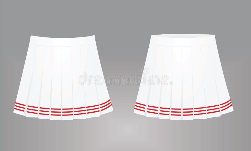 Белая юбка Передний и задний взгляд иллюстрация штока