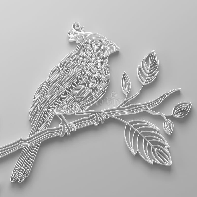 Белая quilling бумажная птица бесплатная иллюстрация