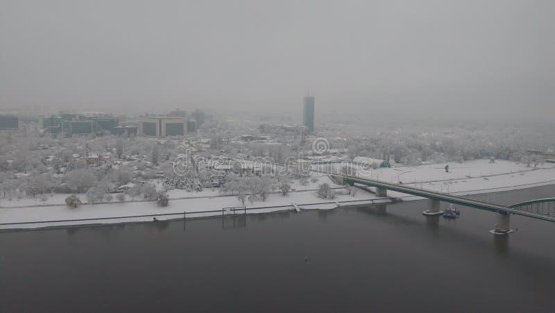 Белград на утре вод-снега стоковая фотография rf