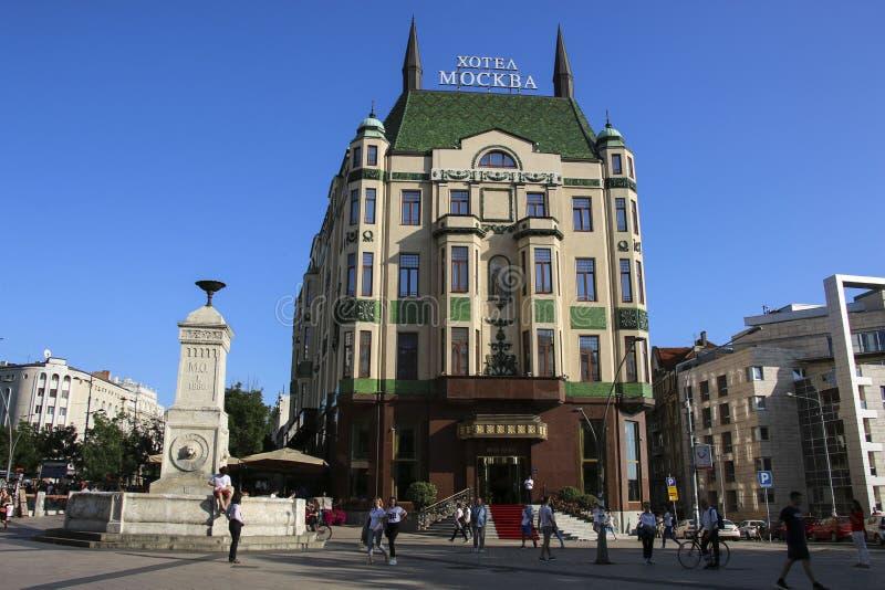 БЕЛГРАД, СЕРБИЯ 6-ОЕ ИЮНЯ 2019: Известная гостиница Москва Moskva гостиницы с фонтаном Terazijska стоковые изображения