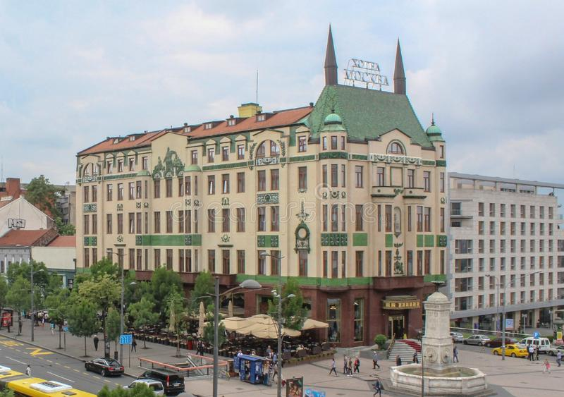Белград; Сербия; 23-ье мая 2017; Гостиница и улица Москвы в Belgr стоковое фото