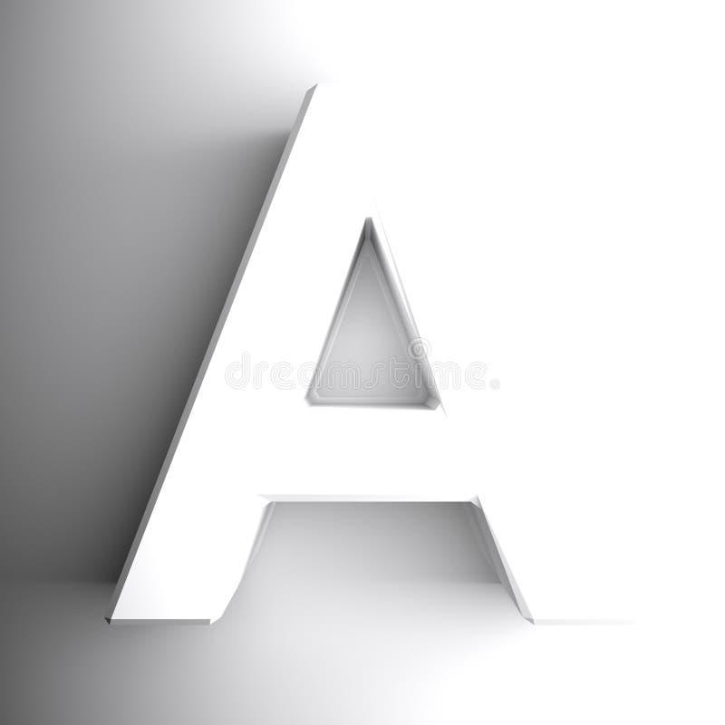 Белизна алфавитного письма, изолированная на белой предпосылке - иллюстрации перевода 3D иллюстрация штока