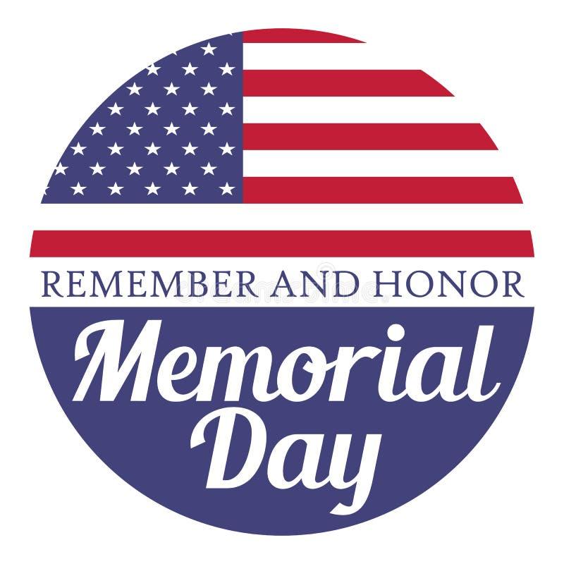 белизна афиши изолированная днем мемориальная Вспомните и удостойте Иллюстрация с флагом США иллюстрация штока