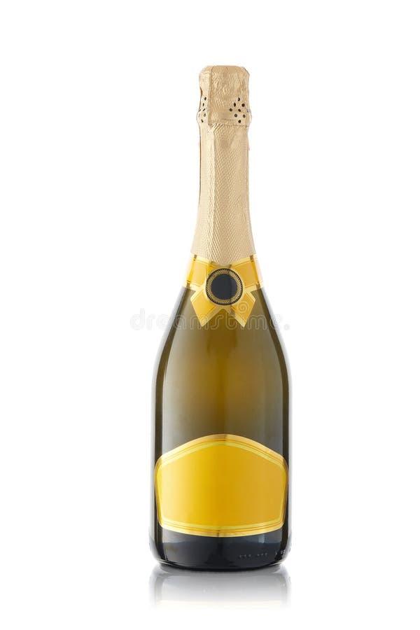 белизна бутылки изолированная шампанским стоковые фотографии rf