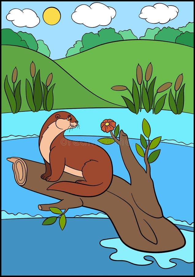 белизна вектора животных нарисованная шаржем изолированная рукой Немногое милая выдра сидит на ветви дерева в реке бесплатная иллюстрация