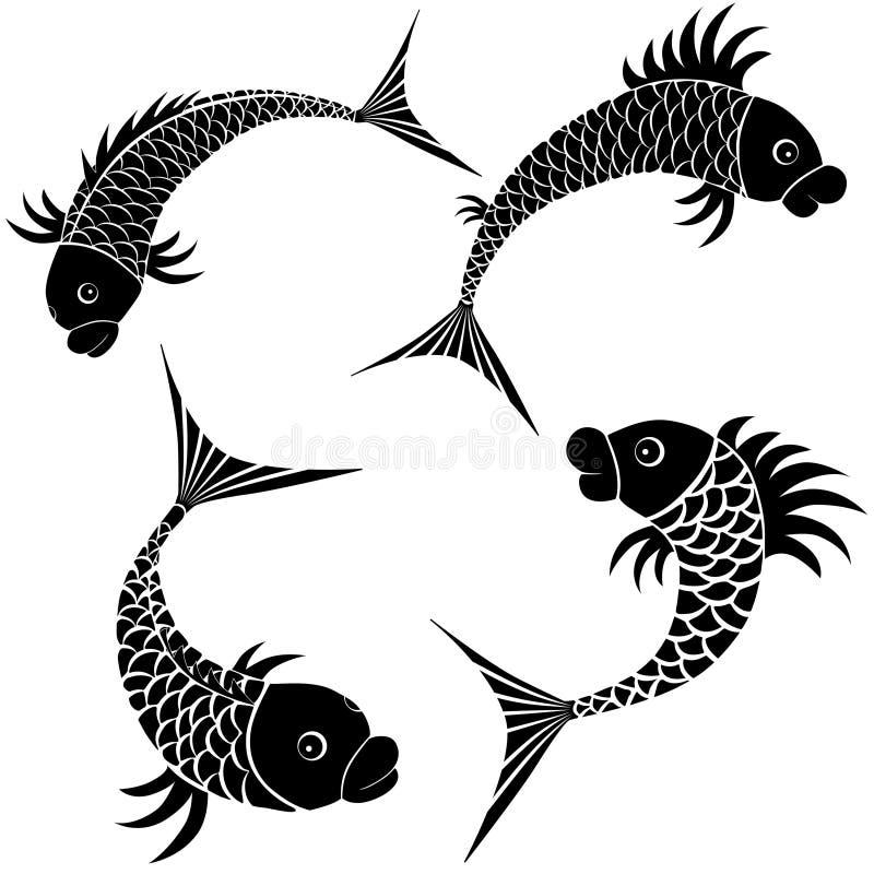 белизна вектора символа эскиза логоса иконы рыб конструкции собрания изолированная иллюстрацией установленная бесплатная иллюстрация