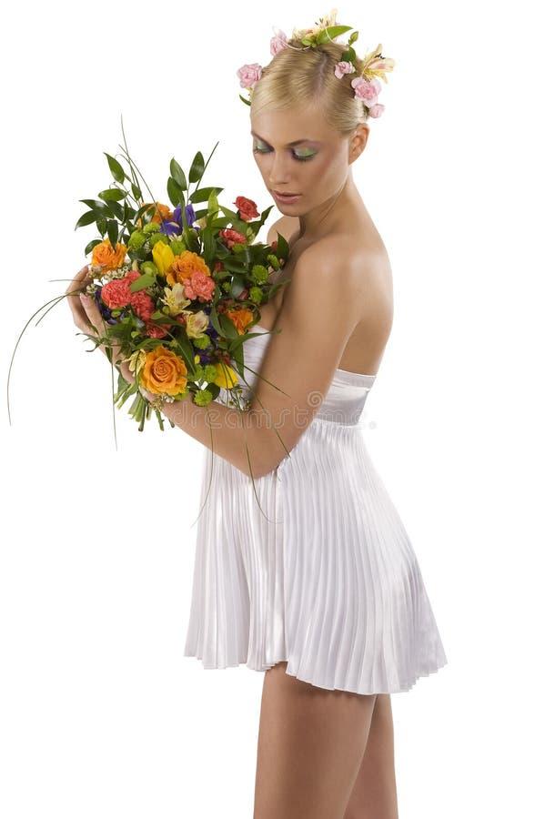 белизна весны девушки стоковое изображение