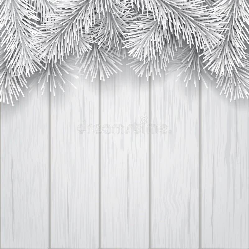 Белизна ветви рождественской елки границы искусственная иллюстрация штока
