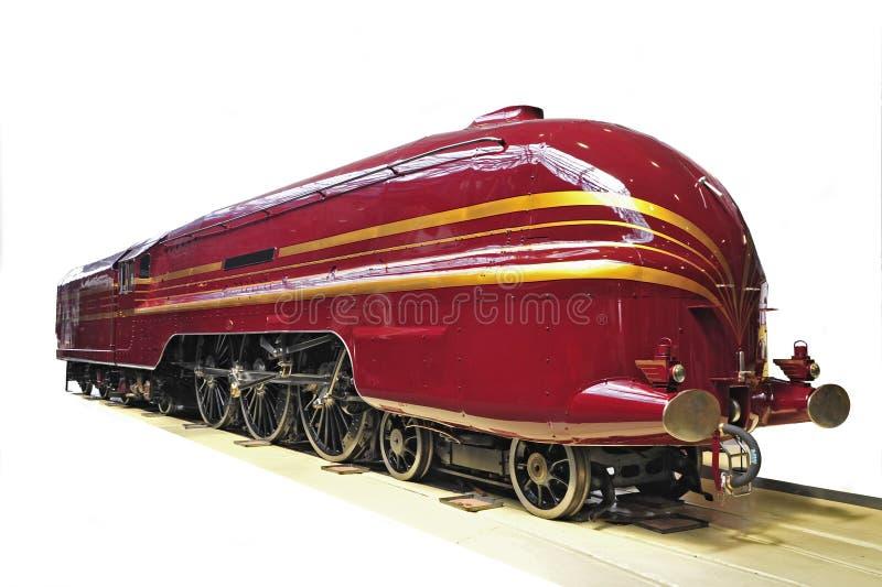 белизна двигателя предпосылки железнодорожная красная стоковая фотография