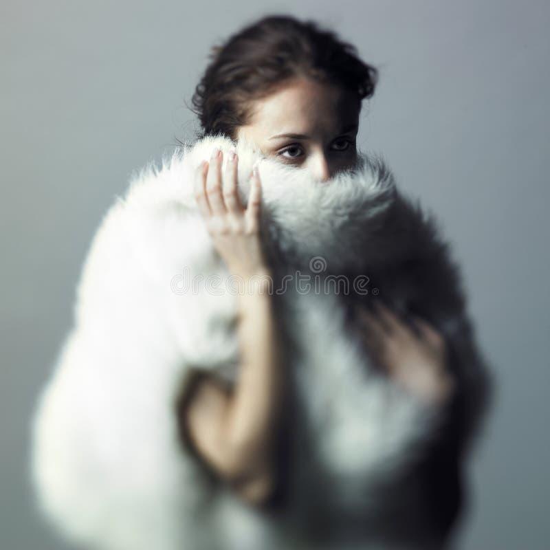 белизна девушки шерсти нежная стоковая фотография rf