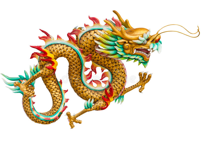 белизна дракона золотистая изолированная стоковые изображения rf