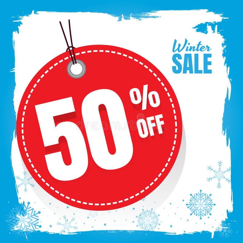 Белизна знамени продажи зимы голубая дизайн плаката установленный с текстом продажи иллюстрация вектора