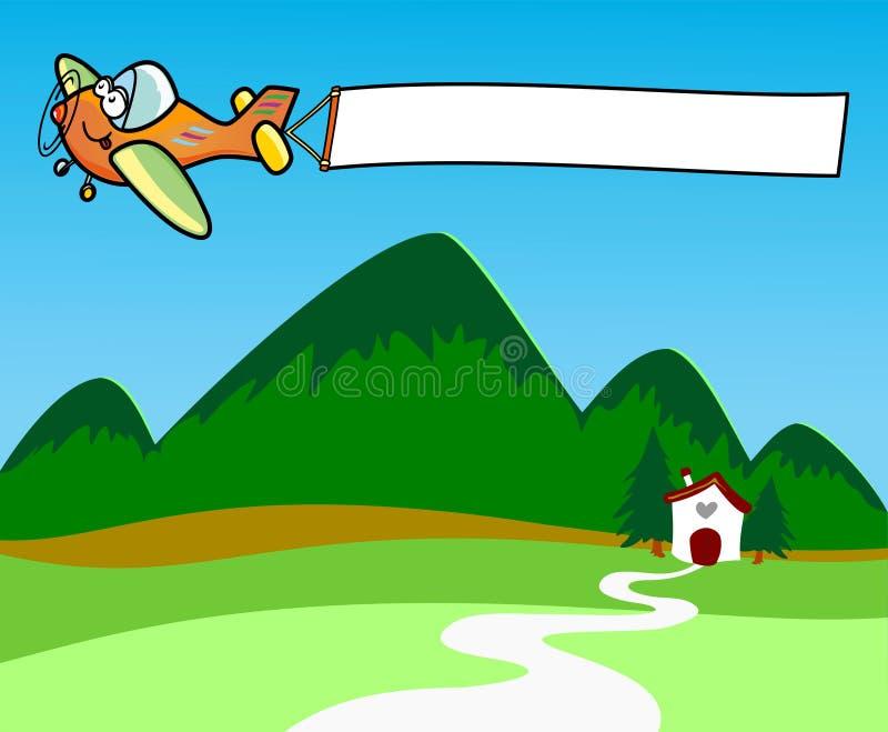 белизна знамени самолета волоча бесплатная иллюстрация