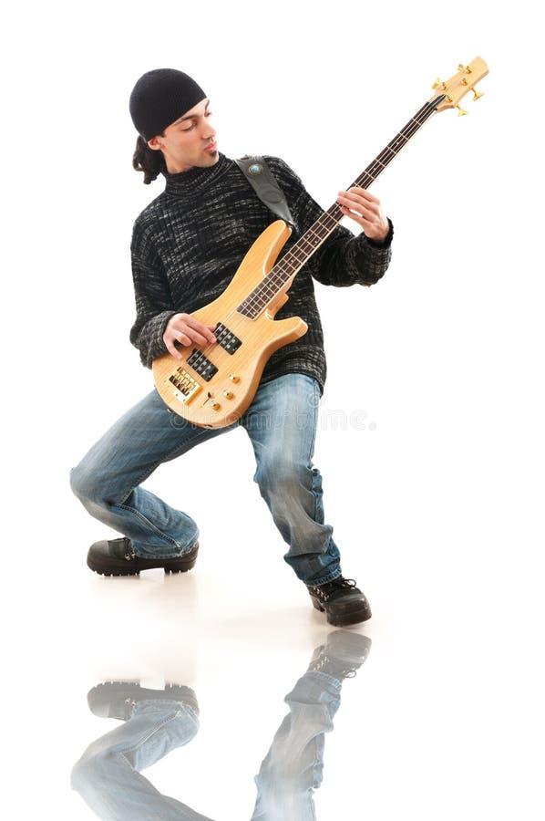 белизна игрока гитары стоковые фотографии rf