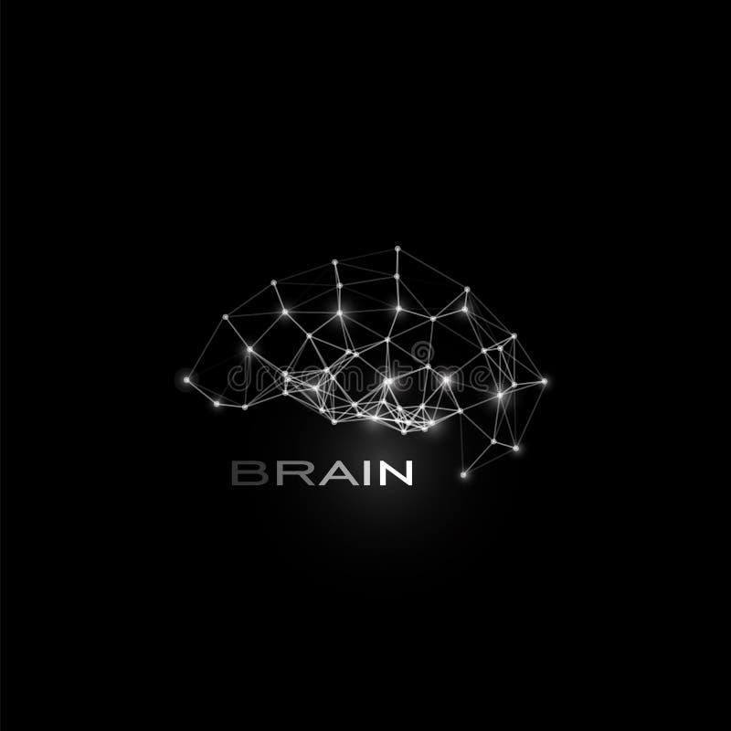 Белизна изолировала линии и ставит точки мозг, форма вектора, полигональный искусственный интеллект, логотип базы данных на черно иллюстрация вектора