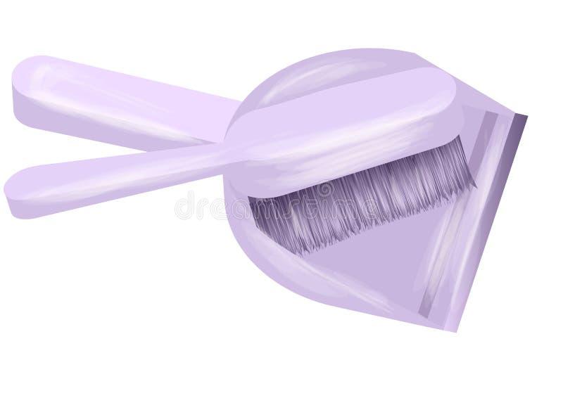 белизна инструмента чистки щетки предпосылки изолированная dustpan иллюстрация штока