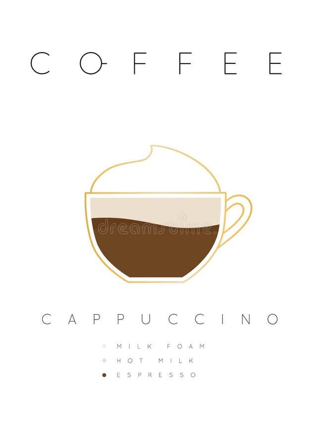 Белизна капучино кофе плаката иллюстрация вектора