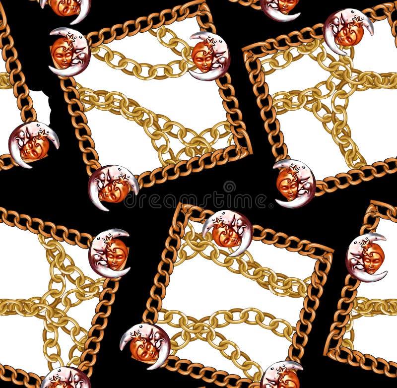 Белизна картины нового сезона безшовная с золотыми цепями конструирует предпосылку бесплатная иллюстрация