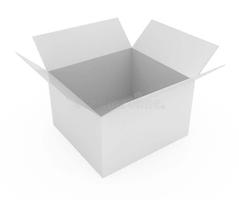 белизна коробки изолированная картоном открытая иллюстрация вектора