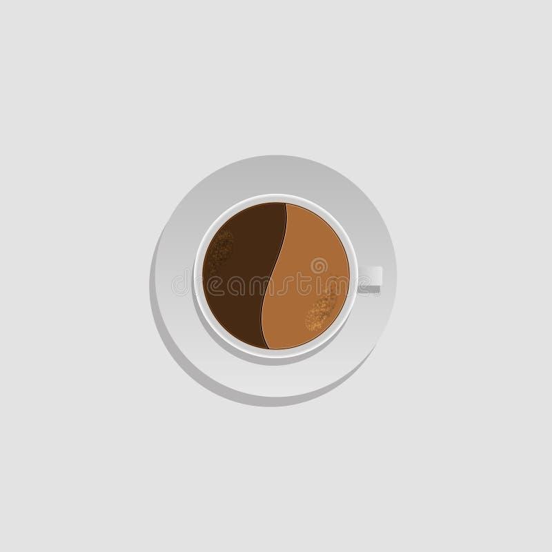 белизна кофейной чашки Кофейная чашка взгляд сверху белая Напиток эспрессо кофе, капучино, поддонник стоковое изображение rf