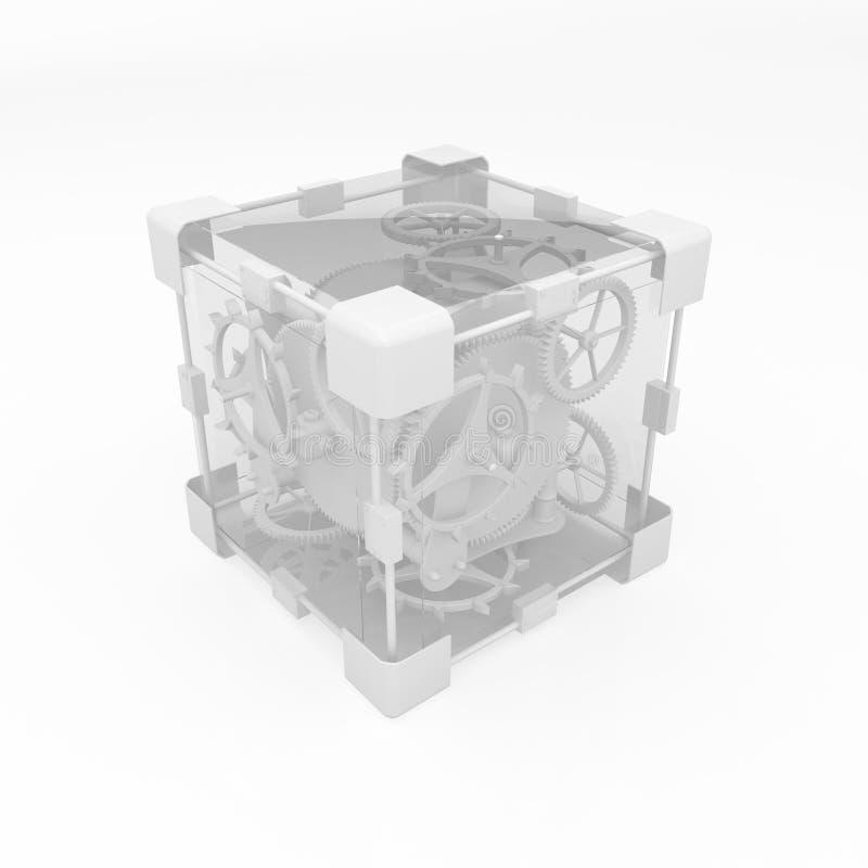 белизна кубика clockwork иллюстрация вектора