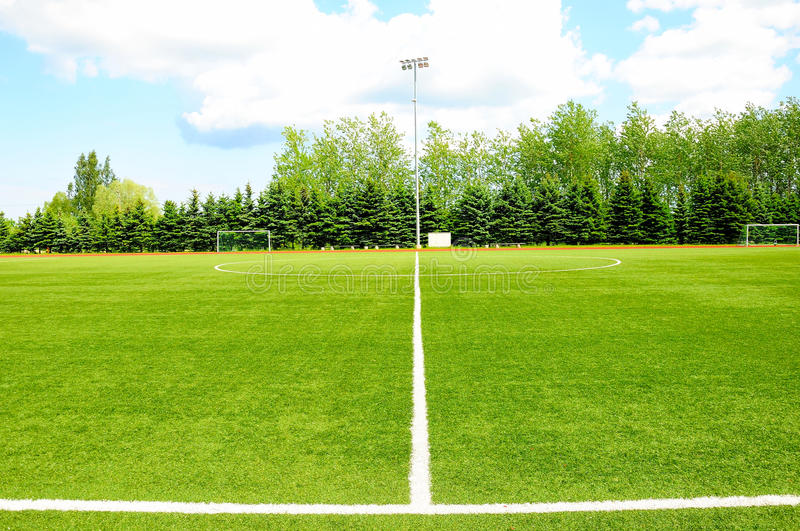 белизна нашивки футбола поля стоковое фото