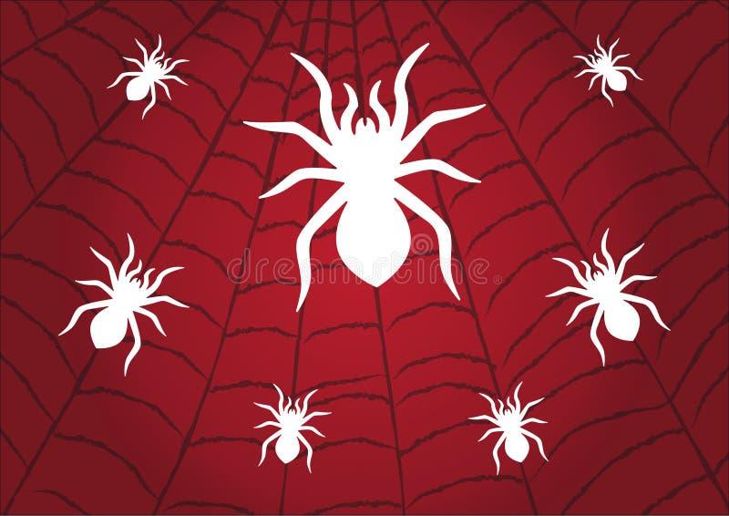 Белизна паука на предпосылке паутины красной o иллюстрация вектора
