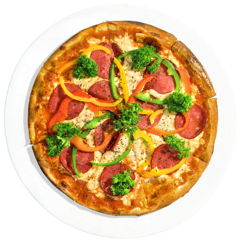белизна пиццы тарелки стоковое изображение rf