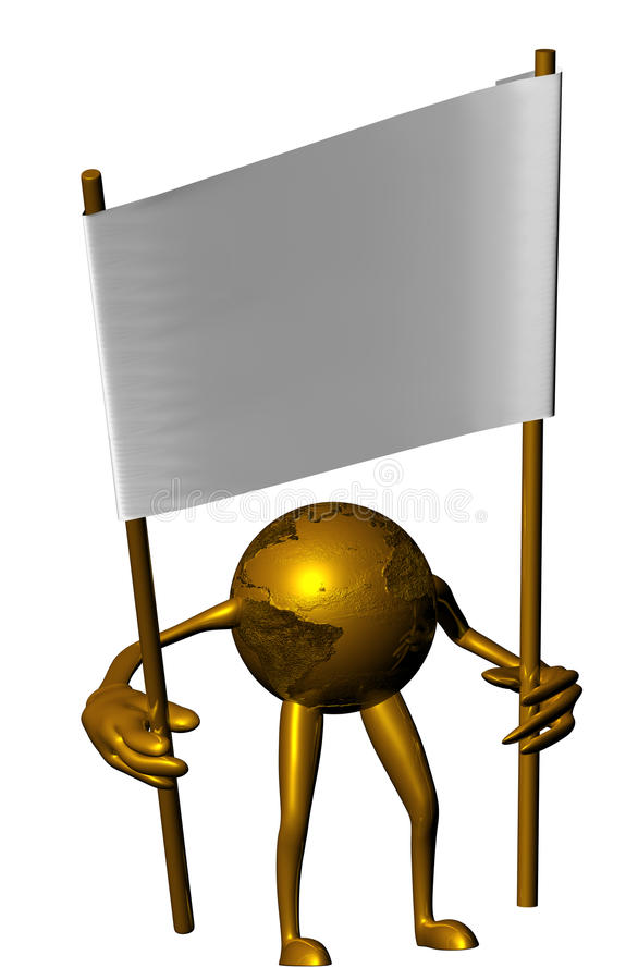 белизна плаката удерживания глобуса золотистая иллюстрация штока