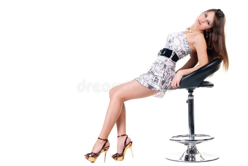 белизна платья брюнет сексуальная стоковые изображения
