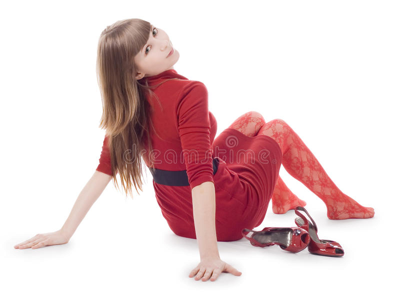 белизна повелительницы предпосылки изолированная платьем сидя стоковое изображение rf