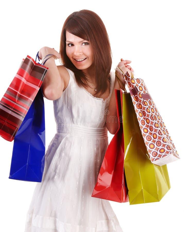 белизна покупкы группы девушки платья мешка стоковая фотография