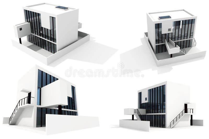 белизна предпосылки 3d изолированная домом самомоднейшая иллюстрация штока