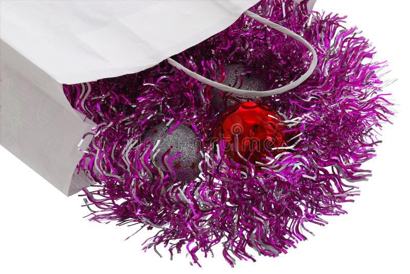 белизна равнины бумаги украшений рождества мешка стоковая фотография