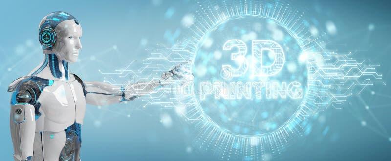 Белизна робота используя 3D печатая цифровой перевод hologram 3D иллюстрация штока