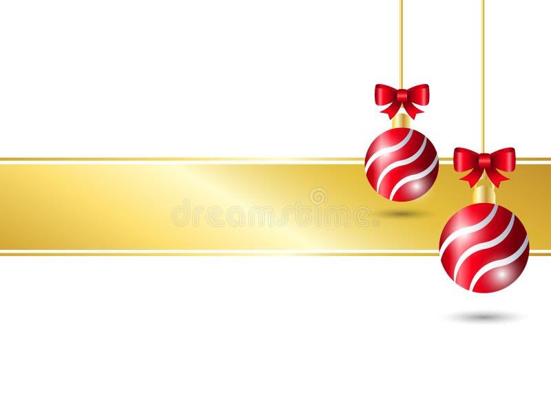 белизна рождества предпосылки Вися красное украшение шарика 2 с красным смычком ленты включая смычок золота для вашего текста бесплатная иллюстрация