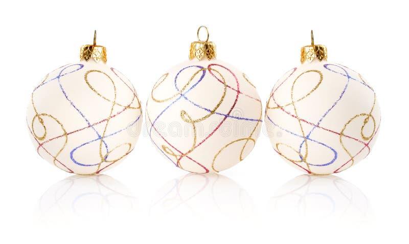 белизна рождества шариков изолированная украшением стоковая фотография rf