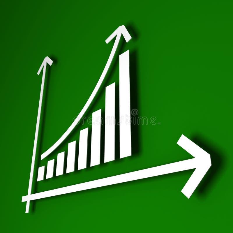 белизна роста диаграммы диаграммы в виде вертикальных полос стрелки стоковое изображение rf