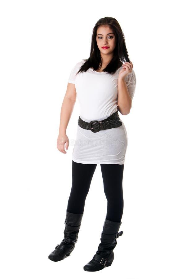 белизна рубашки брюнет стоковая фотография rf