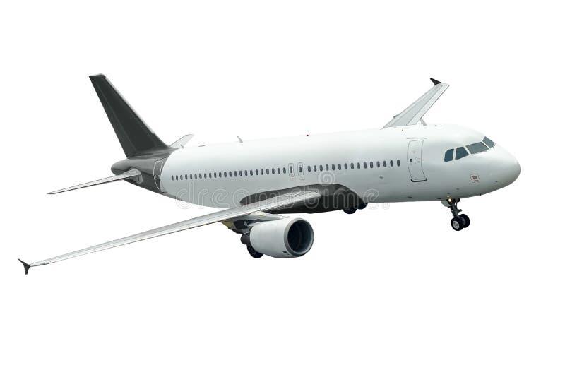 белизна самолета изолированная предпосылкой стоковые изображения rf