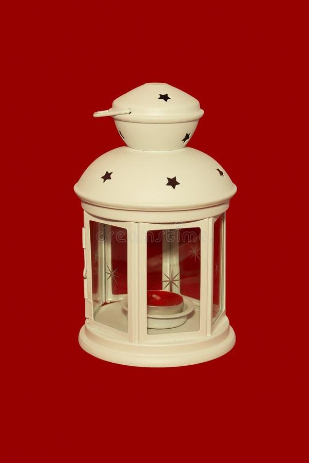 белизна светильника свечки красная стоковая фотография rf