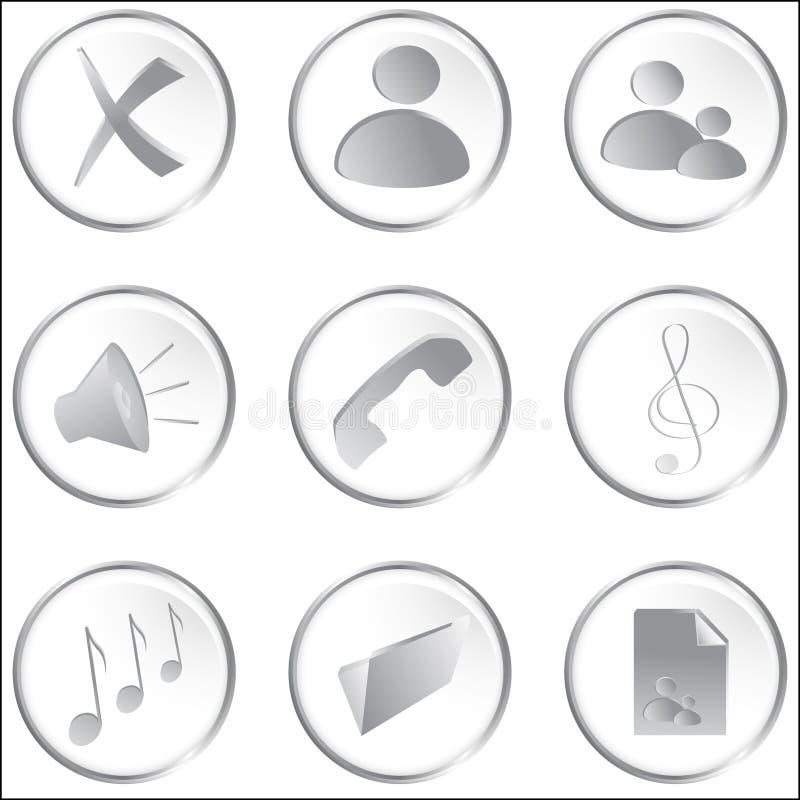 белизна сети вектора кнопок круглая иллюстрация вектора