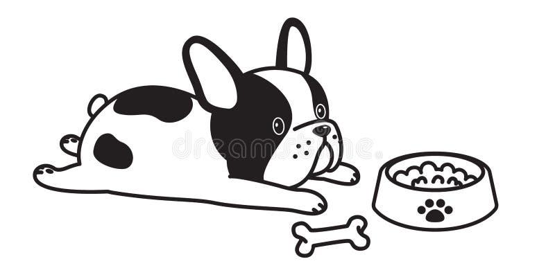 Белизна смычка косточки собаки значка логотипа иллюстрации персонажа из мультфильма французского бульдога вектора собаки бесплатная иллюстрация
