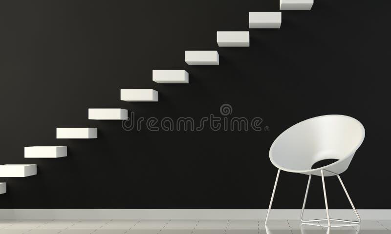 белизна стены лестницы черного стула нутряная иллюстрация штока