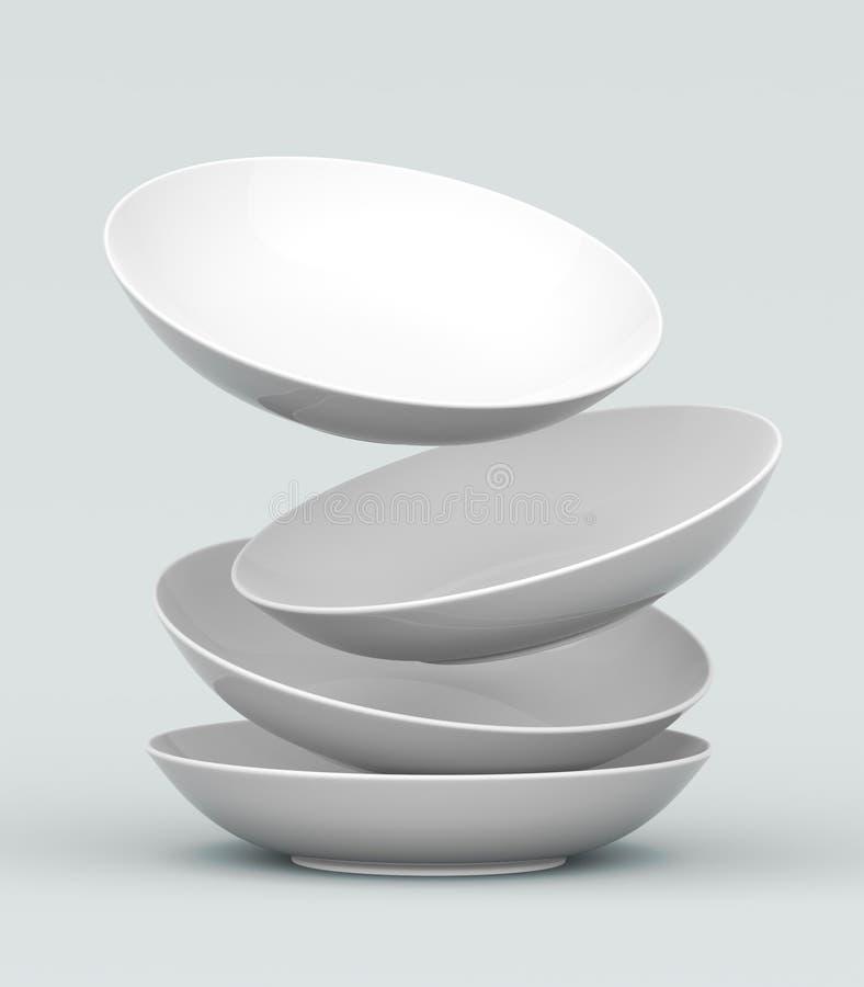белизна сферы тарелки 3d иллюстрация штока