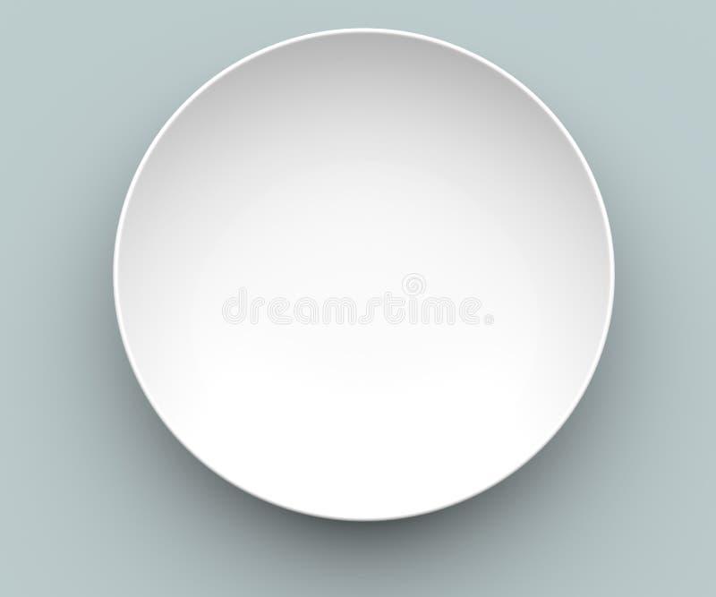 белизна сферы тарелки 3d стоковые изображения