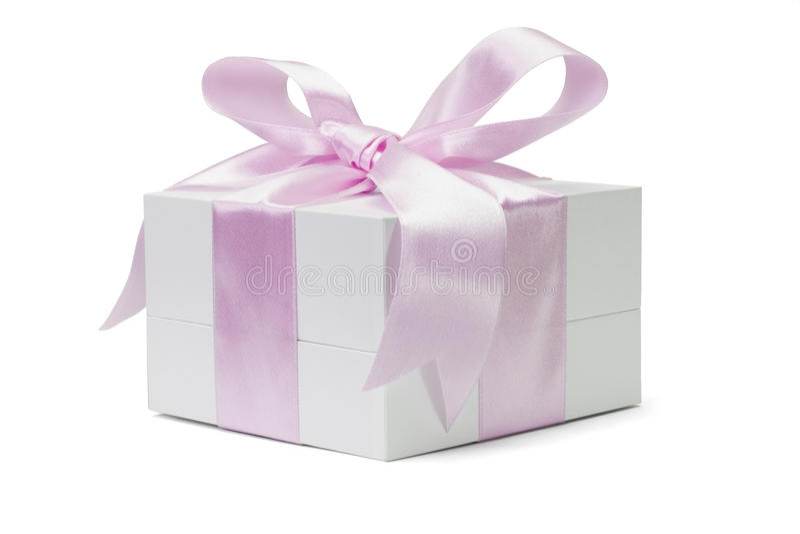 белизна тесемки пинка подарка коробки смычка стоковое изображение